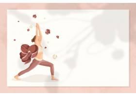 花卉瑜伽姿势框架传染媒介与妇女实践的战士