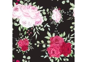 美丽的红色和粉红色花卉框架无缝模式设计