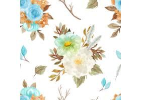 花卉无缝的样式与秋天花卉