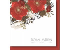 红色花卉框架红色和白花