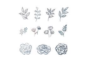 线花水彩花与花卉植物的叶子剪影例证套