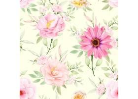 水彩花卉和留下无缝模式_17430922