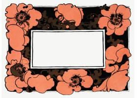橙色罂粟花框架传染媒介艺术nouveau样式