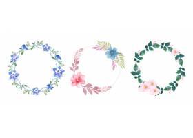 手工制作的水彩花卉花圈套装