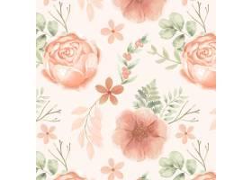 在桃子口气的手画水彩花卉样式_14835217