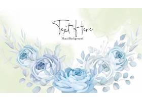 典雅的软蓝花卉背景设计_16878482