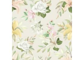 与柔和的颜色的花卉无缝的样式