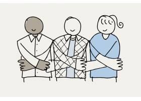 志愿乱画传染媒介握手支持概念的人们
