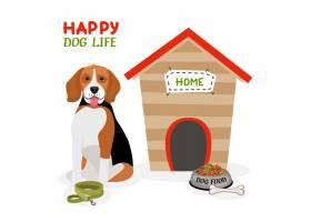 愉快的狗生活传染媒介与逗人喜爱的小猎犬的