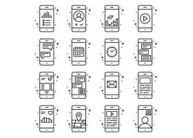 智能手机功能和应用程序矢量图标设置在大纲