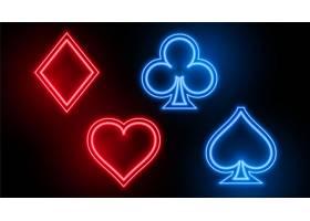 赌博娱乐场卡式套装符号在霓虹色