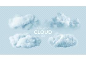 现实白色蓬松云彩设置隔绝在透明
