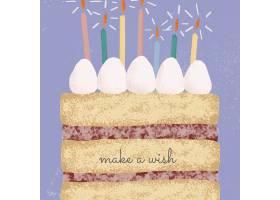 在线生日问候与逗人喜爱的蛋糕例证的模板传_16261516