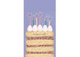 在线生日问候与逗人喜爱的蛋糕和祝愿文本的
