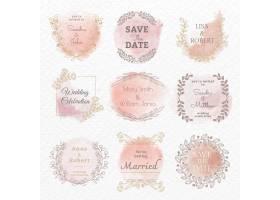在花卉水彩样式集合的婚礼商标传染媒介模板