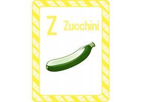 字母表Flashcard与Zucchini的字母Z