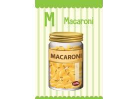 字母表Flashcard与信件M for Macaroni