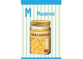 字母表Flashcard与信件M for Macaroni_15125499