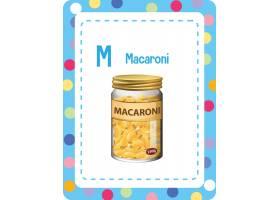 字母表Flashcard与信件M for Macaroni_15125960