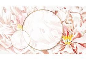 圆形花卉牡丹框架壁纸矢量