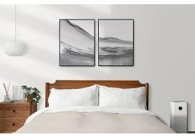 画框大模型PSD在一个明亮和清洁的现代卧室_17609485