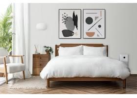 画框大模型PSD在一个明亮和清洁的现代卧室_17860170